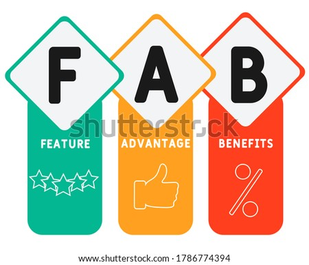 FAB - Feature Advantage Benefits. business concept background.  vector illustration concept with keywords and icons. lettering illustration with icons for web banner, flyer, landing page Сток-фото ©