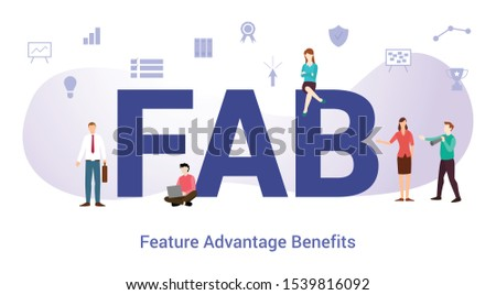 fab feature advantage benefits concept with big word or text and team people with modern flat style - vector Сток-фото ©