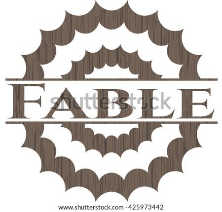 Fable wooden emblem. Retro