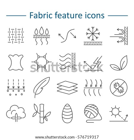 Fabric and clothes feature line icons. Linear wear labels. Elements - cotton, wool, waterproof, uv protection, breathable fiber and more. Textile industry pictograms for garments.
