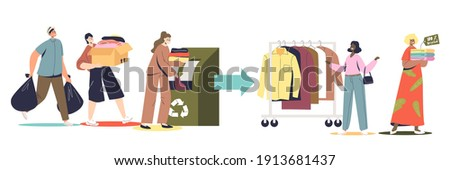Fabric and textile recycling set with people donating used clothes for recycle and eco friendly fashion. Cartoon characters throwing clothing in recycling container. Flat vector illustration