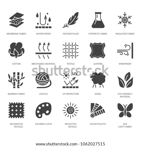 Fabric feature, clothes material vector flat glyph icons. Garment property symbols. Cotton wool, waterproof, wind resistant, uv protection. Wear label, textile industry pictogram. Pixel perfect 64x64.