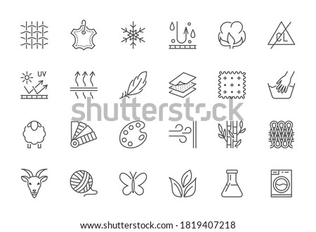 Fabric feature flat line icons set. Clothes symbols silk, cotton, breathable, waterproof material, handwash cashmere, yarn vector illustrations. Outline signs for garment properties, textile industry. Сток-фото ©