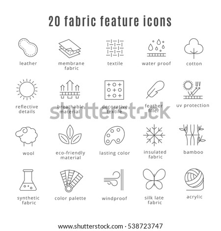 Fabric feature line icons. Comfort wear and lightweight, synthetic clothes and wool waterproof clothing signs. Symbol for clothes set. Vector illustration