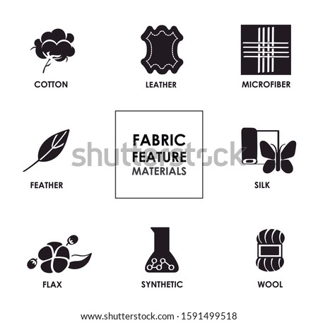 Fabric Feature, Materials. Tissue materials icon. Solid image of silk, cotton, leather, microfiber, feather, synthetic, silk, flax, thread and wool. Editable vector.