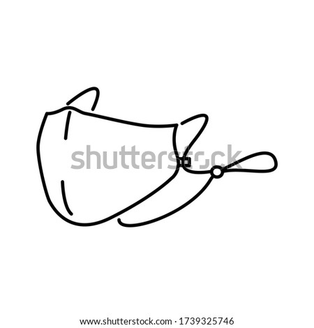 Fabric Mask with Adjustable Strap line icon isolated on white background. Fashion Mask for protection people from coronavirus (COVID-19). Black outline flat vector illustration. Foto stock ©