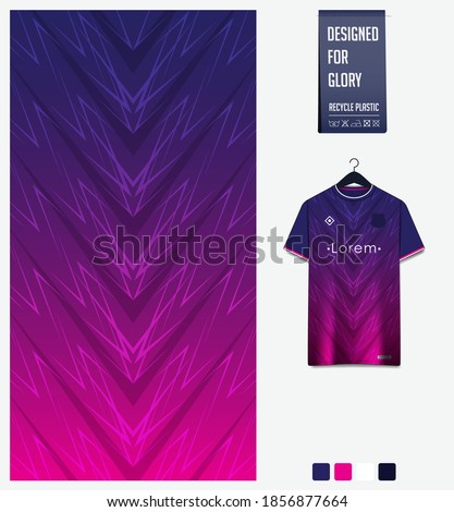 Fabric pattern design. Abstract pattern on blue gradient background for soccer jersey, football kit, e-sport, basketball, sports uniform, t-shirt mockup template. Abstract sport background. Vector.