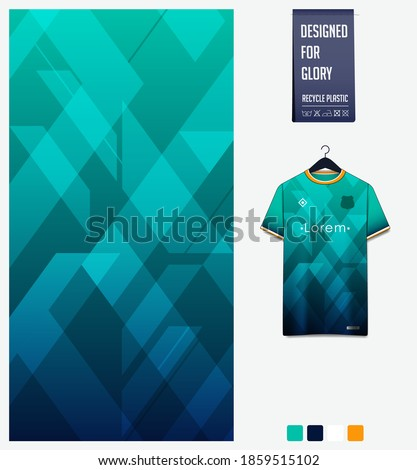 Fabric pattern design. Geometric pattern on green background for soccer jersey, football kit, bicycle, e-sport, basketball, sports uniform, t-shirt mockup template. Abstract sport background. Vector.