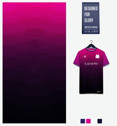 Fabric pattern design. Geometric pattern on pink gradient background for soccer jersey, football kit, bicycle, e-sport, basketball, sports uniform, t-shirt mockup template. Abstract sport background.