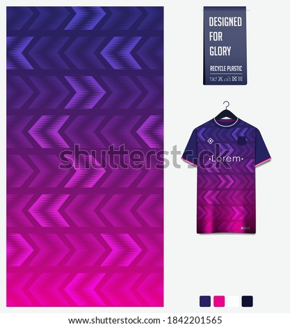 Fabric pattern design. Geometric pattern on violet background for soccer jersey, football kit, bicycle, e-sport, basketball, sports uniform, t-shirt mockup template. Sport abstract background. Vector.