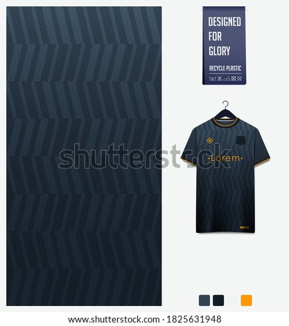 Fabric pattern design. Geometry pattern on black background for soccer jersey, football kit, bicycle, e-sport, basketball, sports uniform, t-shirt mockup template. Abstract sport background. Vector.