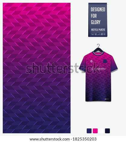 Fabric pattern design. Geometry pattern on pink background for soccer jersey, football kit, bicycle, e-sport, basketball, sports uniform, t-shirt mockup template. Abstract sport background. Vector.