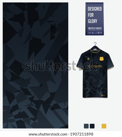 Fabric pattern design. Mosaic pattern on black background for soccer jersey, football kit, bicycle, e-sport, basketball, sports uniform, t-shirt mockup template. Abstract sport background. Vector