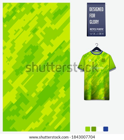 Fabric pattern design. Mosaic pattern on green background for soccer jersey, football kit, bicycle, e-sport, basketball, sports uniform, t-shirt mockup template. Abstract sport background. Vector.