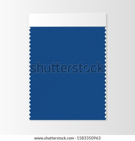 Fabric sample, textile swatch template for interior design mood board with Classic Blue 2020 Color of the year. Trendy color palette, vibrant piece of fabric. Vector illustration for advertising Stock photo ©