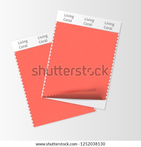 Fabric samples, textile swatch template for interior design mood board with Living Coral 2019 Color of the year. Trendy color palette, red piece of fabric. Vector illustration for blog posts