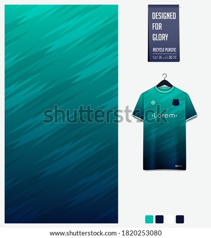 Fabric textile design in Green thunder pattern for soccer jersey, football kit, bicycle, e-sport, basketball, sports uniform. T-shirt mockup template. Abstract sport background. Vector Illustration.