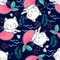 Fabric with painted mermaid cats. Children's textile design. Vector illustration. Pattern seamless.