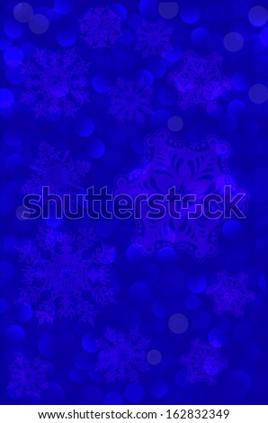 fabulous blue background. Christmas snowflakes. Vector.