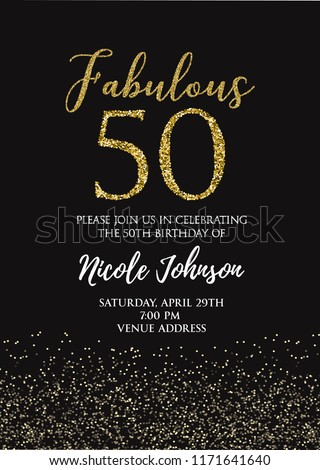 Fabulous Fifty birthday party vector printable invitation card with golden glitter elements.