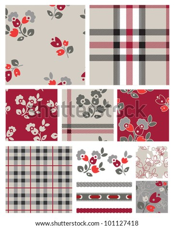Fabulous Floral and Plaid Seamless Repeat Vector Patterns and Icons.  Great for Scrap booking or digital paper or even textile design.