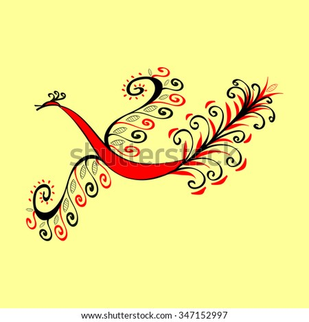 Fabulous red bird the peacock. National ethnic ornament pattern