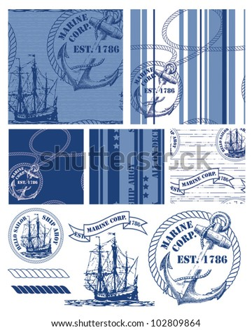 Fabulous vintage style nautical themed repeat patterns and icons.  Use to create fabric projects or fun items for a beach picnic. - stock vector
