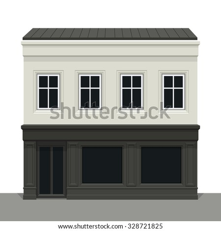Facade building. Front of house. Vector detailed illustration. Isolated on white background. ストックフォト ©