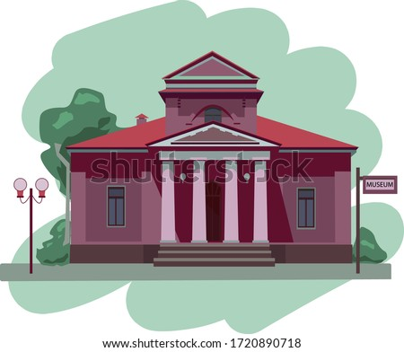Facade of a museum or government building. Museum illustration isolated on white background.