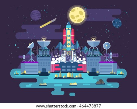 Facade of a station building and ancillary facilities with soaring rocket into space for expedition and research on the background of open outer space in flat style.Vector illustration