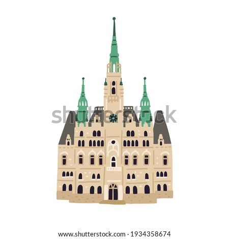 Facade of Liberec Town Hall. Old Czech building with towers and spire. Colored flat vector illustration of ancient European architecture isolated on white background Foto stock ©