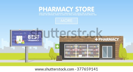 Facade of Pharmacy storefront in the urban space, the sale of drugs and pills. Billboard advertising from pharmacies. Template concept for the website, advertising and sales.