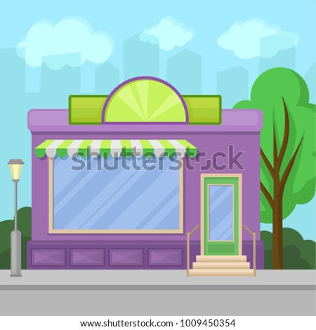 facade of shop building with