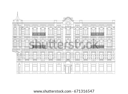Facade Of The Old Classical City Building From The Beginning Of The XX Century. Architectural Professional Drawing With Editable Outlines ストックフォト ©