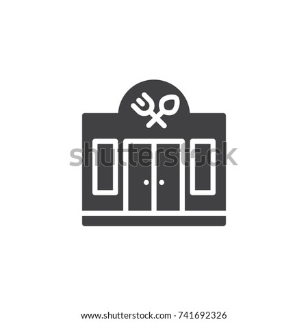 Facade of the restaurant icon vector, filled flat sign, solid pictogram isolated on white. Symbol, logo illustration.