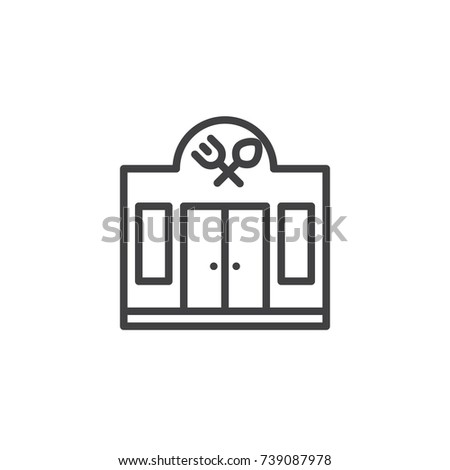 Facade of the restaurant line icon, outline vector sign, linear style pictogram isolated on white. Symbol, logo illustration. Editable stroke