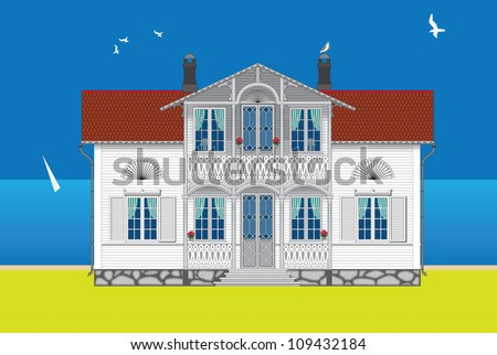 Facade Of The White Two-Story Wooden House Stock Vector 109432184 ...
