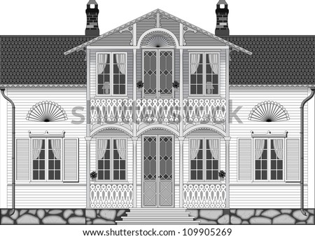 Facade Of The White Two-Story Wooden House Stock Vector 109905269 ...