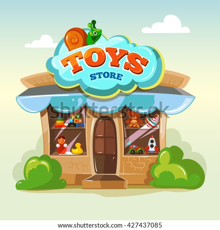 Facade of toy store. Vector illustration isolate on light background. Local market