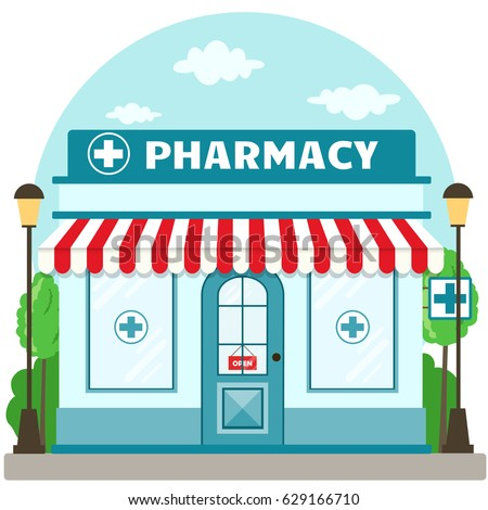 Facade pharmacy store with a signboard, awning and symbol in shopwindow. Front shop for brochure or banner. Vector illustration