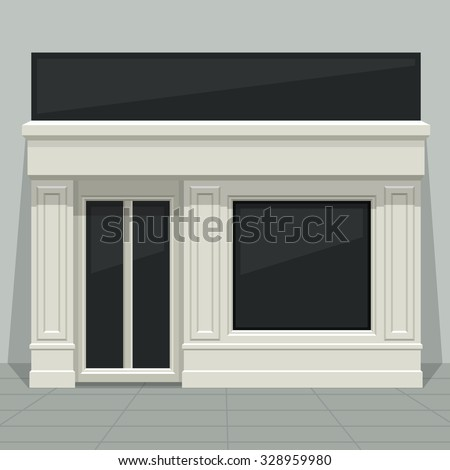 Facade shop, store, boutique with glass windows and doors, front view. Front of house. Template for outdoor advertising. Vector detailed illustration. ストックフォト ©