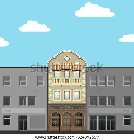 Facades. Modern and classical facades.