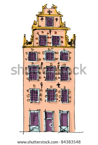 facades of Stockholm - vintage facades - cartoon