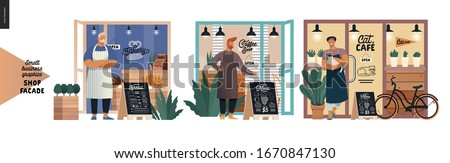 Facades -small business graphics. Modern flat vector concept illustrations -bakery front, coffee shop, cat cafe. Owners wearing apron in front of entrance, interior seen from outside, menu, bicycle