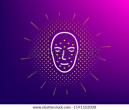 Face biometrics line icon. Halftone pattern. Facial recognition sign. Head scanning symbol. Gradient background. Face biometrics line icon. Yellow halftone pattern. Vector