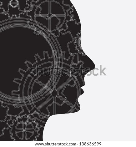 Face black and gear over white background vector illustration