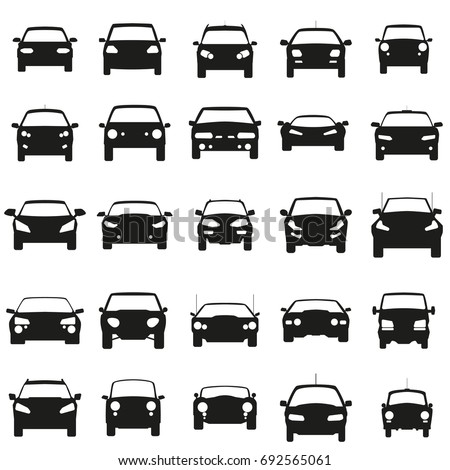 stock-vector-face-cars-set-vector-illustration-black-icons-on-white-background