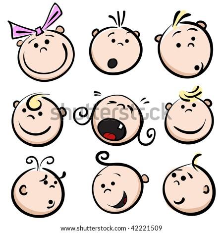 Face character, boys, girls, child baby cartoon stock photo