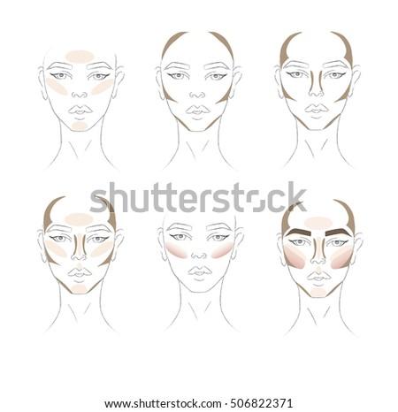 Face chart Makeup Artist Blank. Template. Makeup Contur Highlighting and shading.