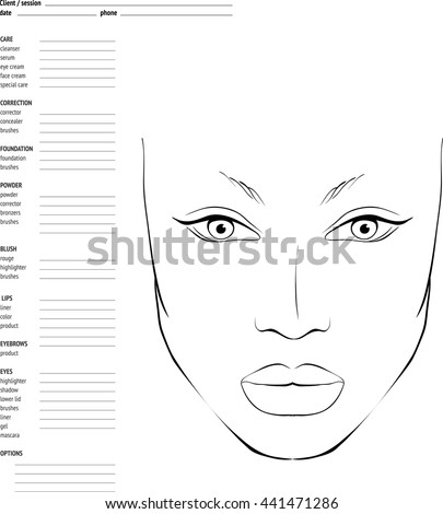 Face chart makeup artist blank template vector illustration ez face chart makeup artist blank template vector illustration ez canvas maxwellsz
